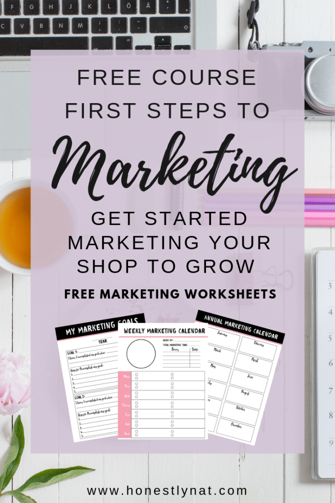 "Flat lay of desk with ""First Steps to Marketing"" course text"