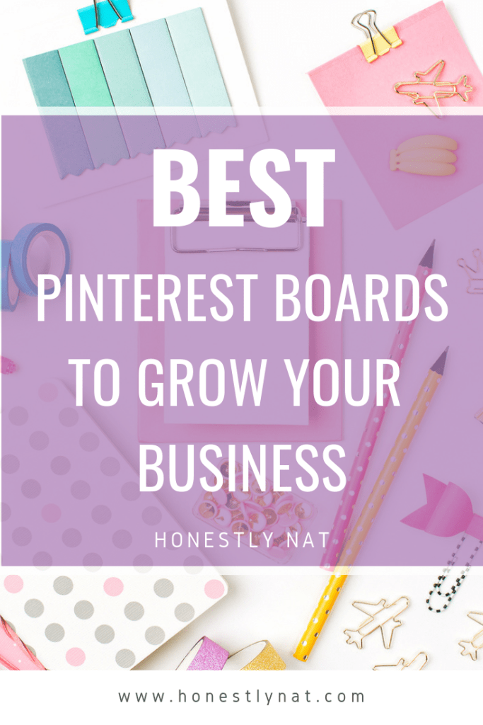 "Stationery flat lay with the text overlay ""Best Pinterest Boards to Grow your Business"""