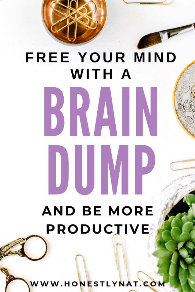 "Pretty desk space with the text overlay ""Free your mind with a brain dump and be more productive"""