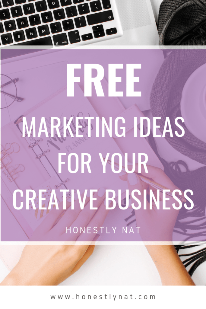 "Overhead photo of woman working on laptop with the text overlay ""Free marketing ideas for your creative business"""