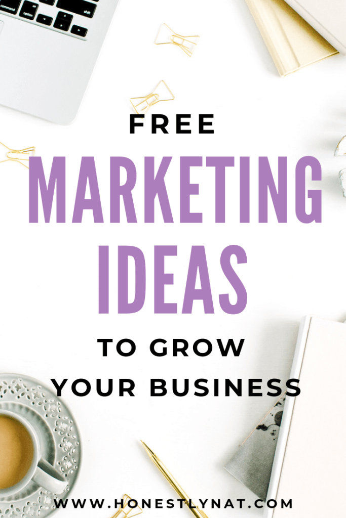 "White desk flat lay with text overlay ""Free marketing ideas to grow your business"""