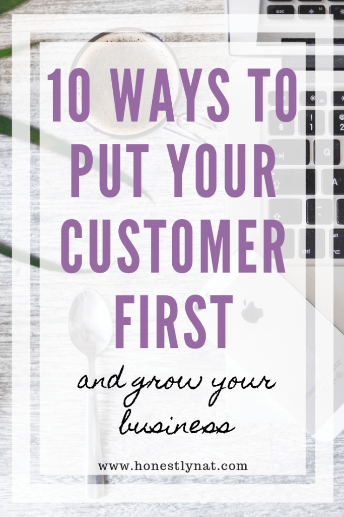 "Top desk overview with the text overlay ""10 Ways to put your Customer First and grow your business"""