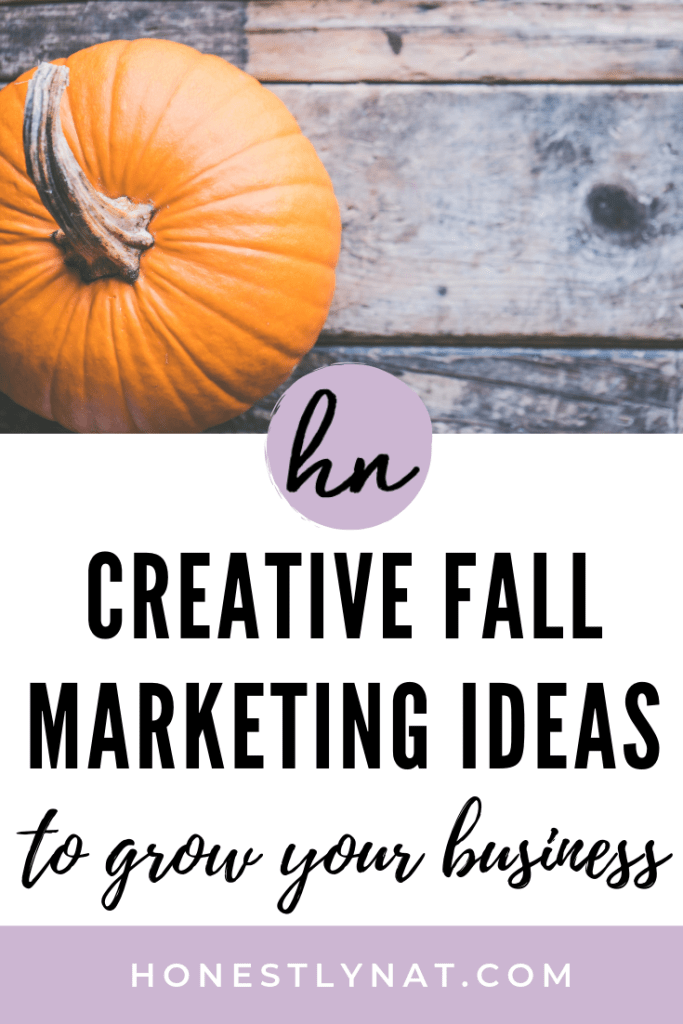 "Pumpkin on rustic wooden board with the text overlay ""Creative fall marketing ideas to grow your business"""