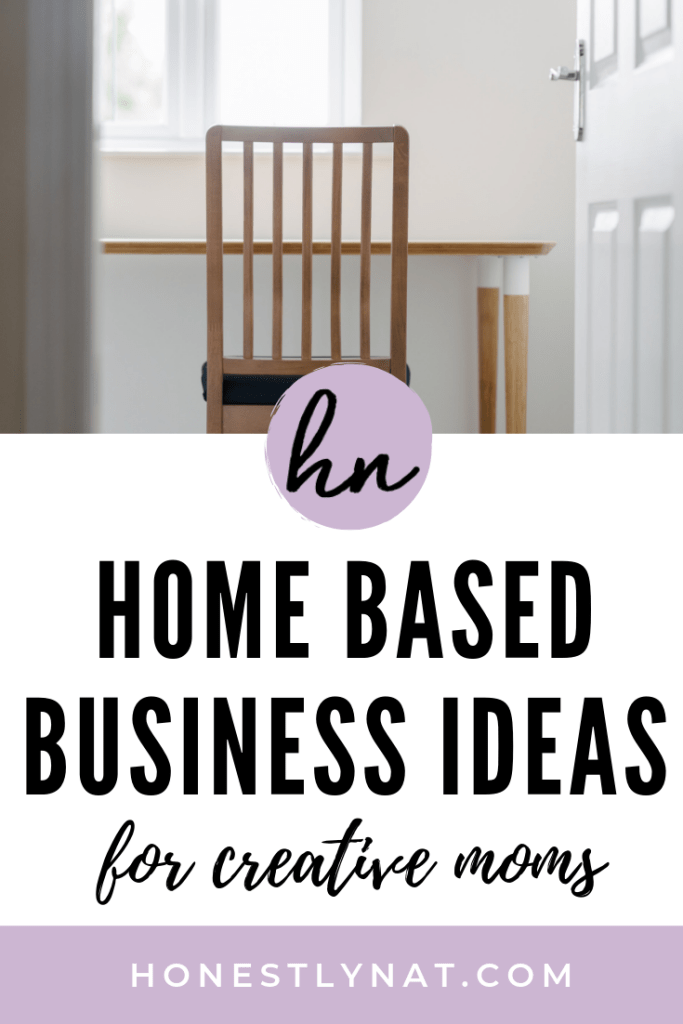 "Desk chair and desk with the text overlay ""Home based business ideas for creative moms"""