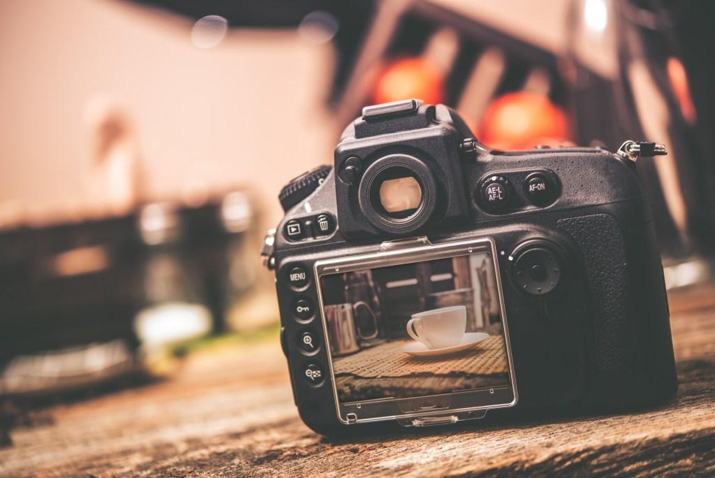camera set up for blog photo shoot
