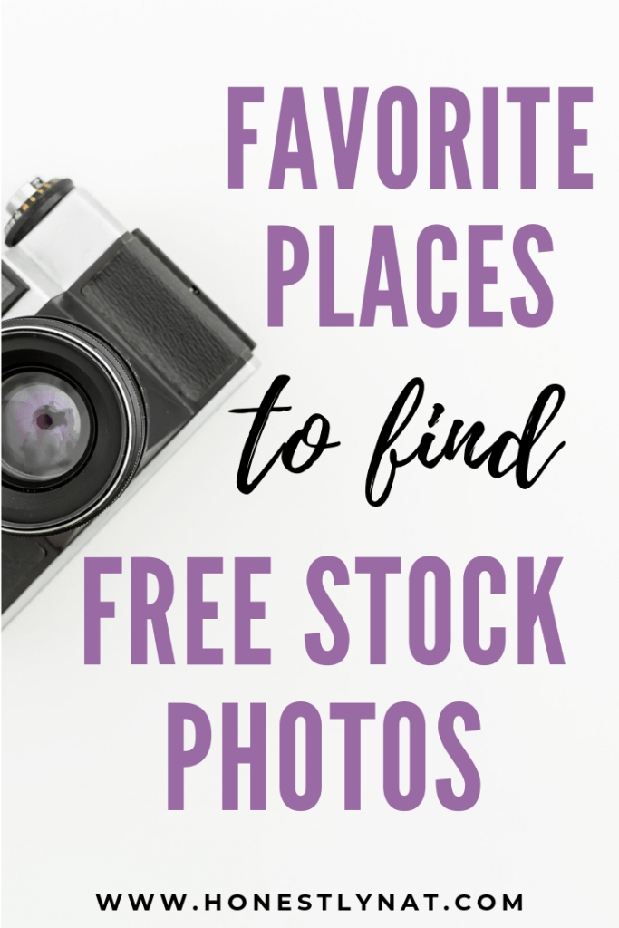 "Vintage camera on a white background with the text layout ""Favorite places to find free stock photos"""