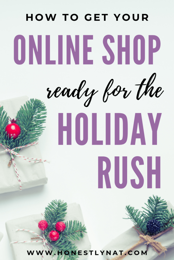 "Pretty white wrapped packages with holly and the text overlay ""How to get your online shop ready for the holiday rush"""