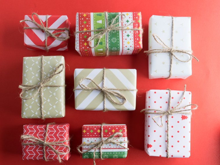 Assortment of beautifully wrapped Christmas packages