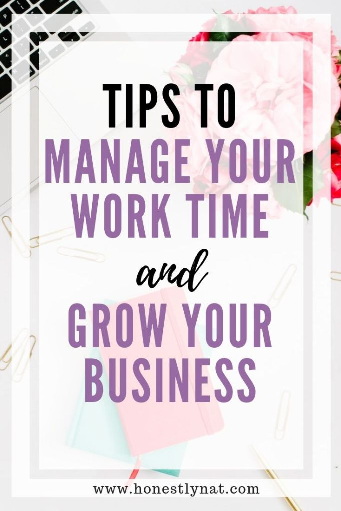 """Desk flat lay with pink notebooks and the text overlay """"Tip to manage your work time and grow your business"""""""