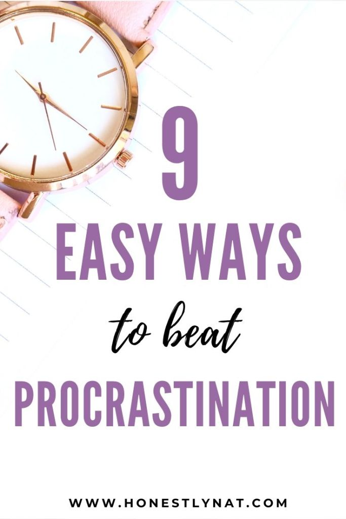 "Pink and gold wristwatch with the text overlay ""8 Easy Ways to Beat Procrastination"""