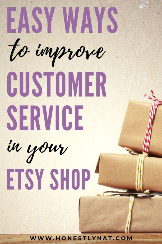 "Stack of boxes with the text overlay ""Easy ways to improve customer service in your Etsy shop"""