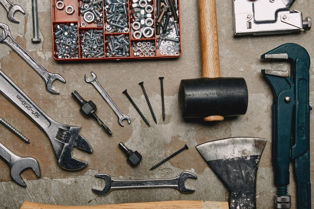 Flat lay of tools on workbench