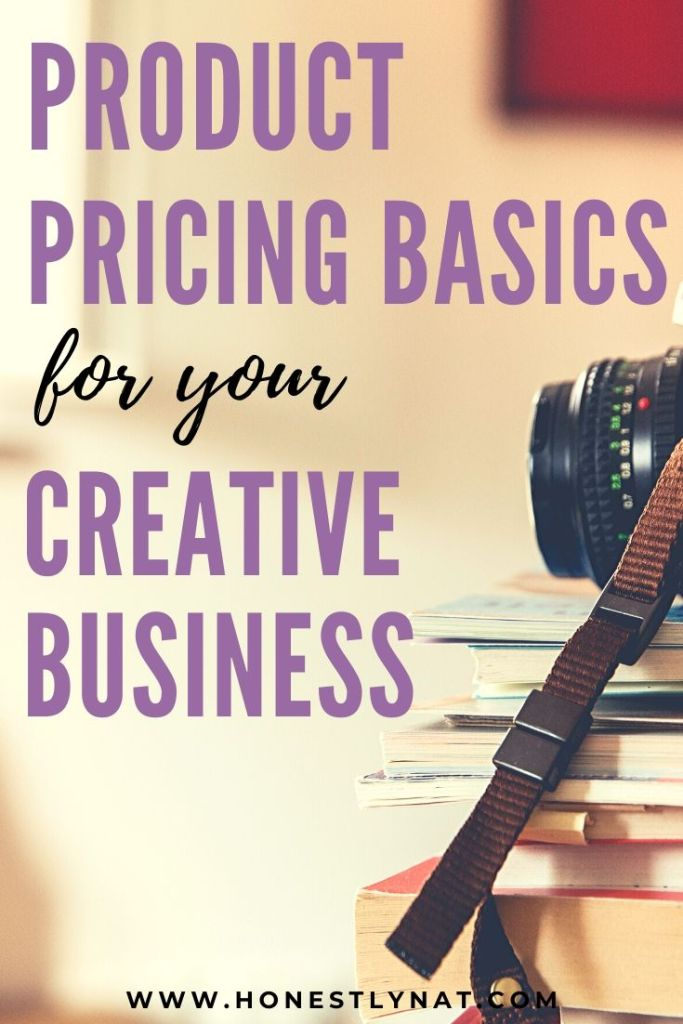 "Stack of book with DSLR camera and the text overlay ""Product pricing basics for your creative business"""