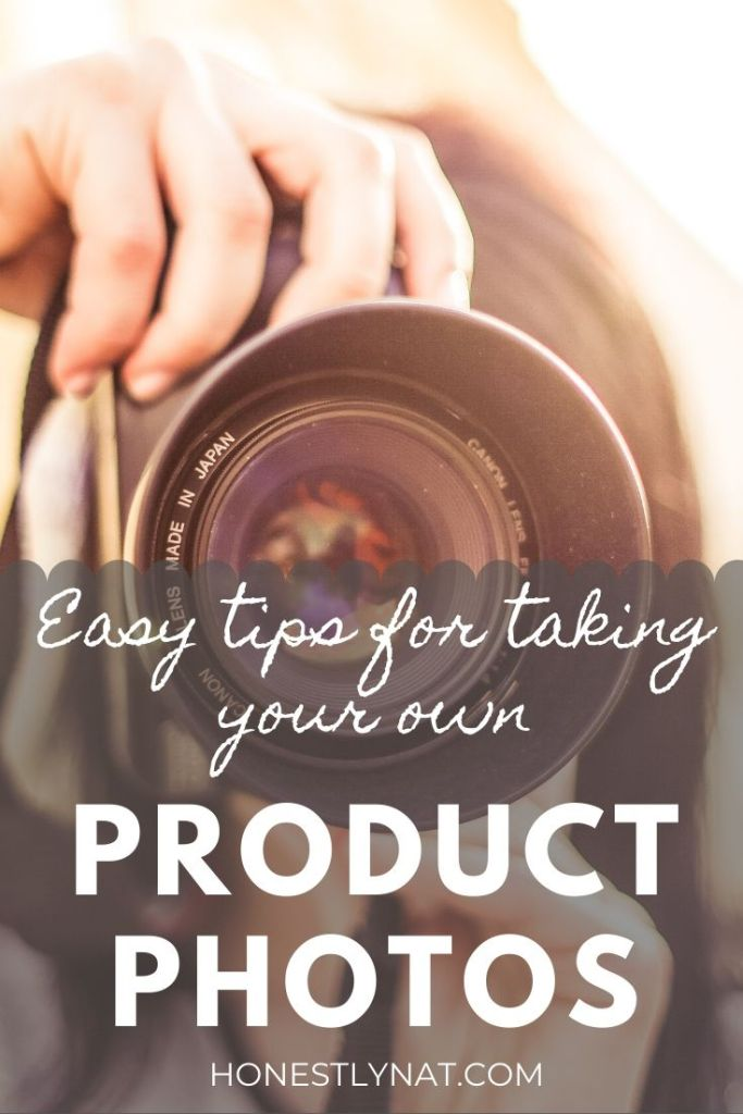 """Woman taking a photo with a camera and the text overlay """"Easy tips for taking your own product photos"""""""