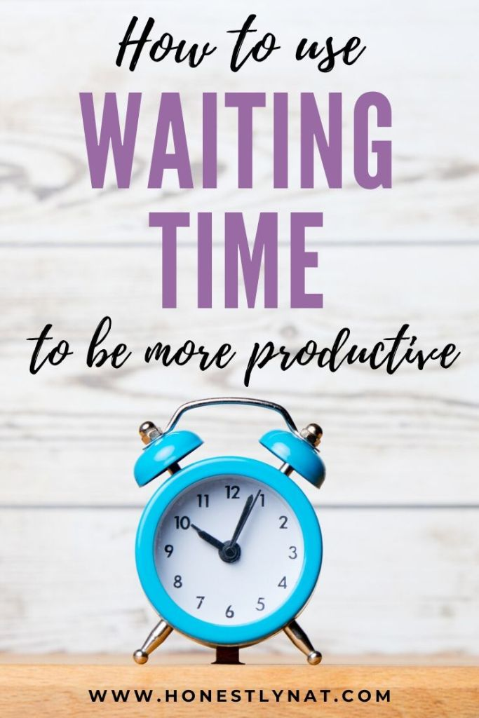 "Turquoise blue alarm clock with rustic wall background and text overlay ""How to use Waiting Time to be more productive"""