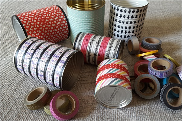 Kosmetikdosen oder Stiftedosen selber basteln mit Folia Washi Tape