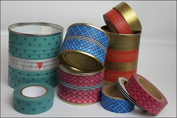 Ideen mit Washi Tape - Dosen bekleben mit Washi Tape
