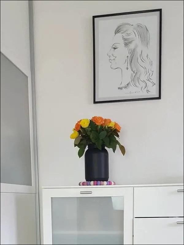 Vase mit Tafelfarbe