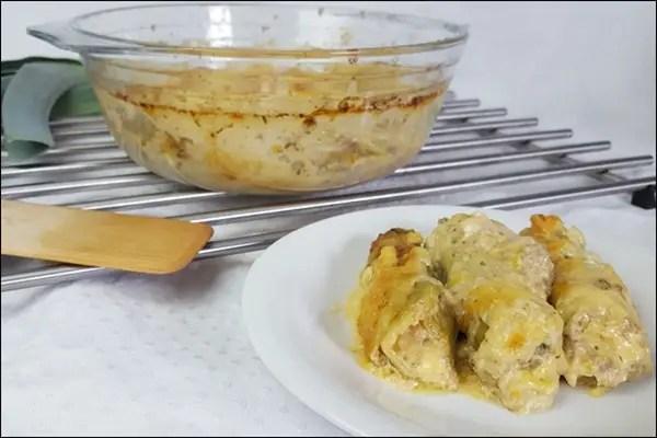 Lowcarb Cannelloni aus Lauch mit Hackfleisch Füllung