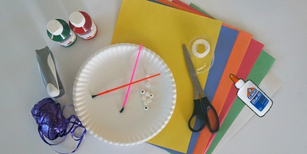 Materials needed to make paper plate Thanksgiving turkey hats craft