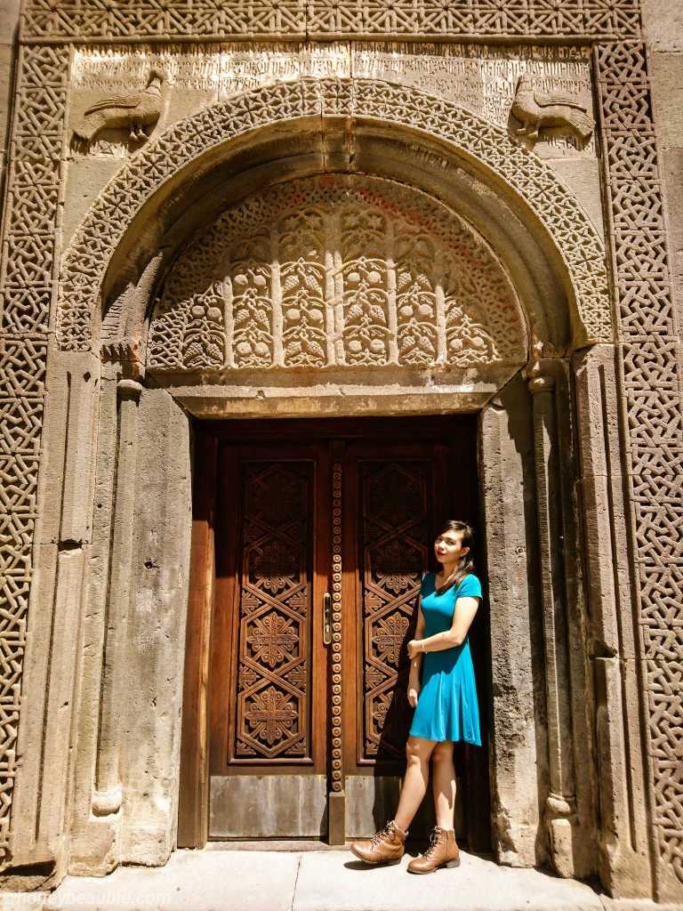 Beautiful stone carved door of Geghard Monastery