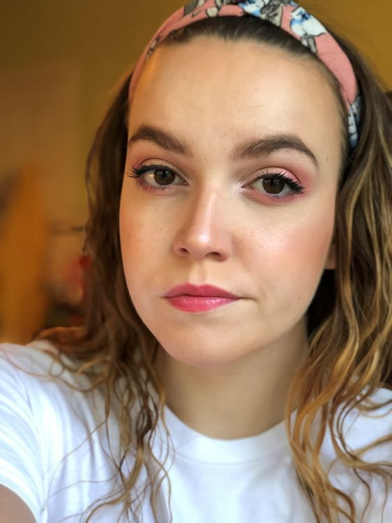 Emily wearing an eyeshadow look created using the colourpop blush crush palette