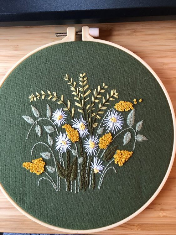 flowers embroidered on a green fabric background