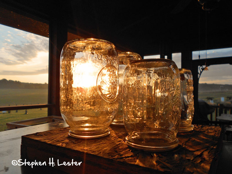 Mason jar feeders. Herb Lester Apiaries, Tennessee.
