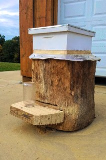 Log bee hive with super by Bob Searcy.