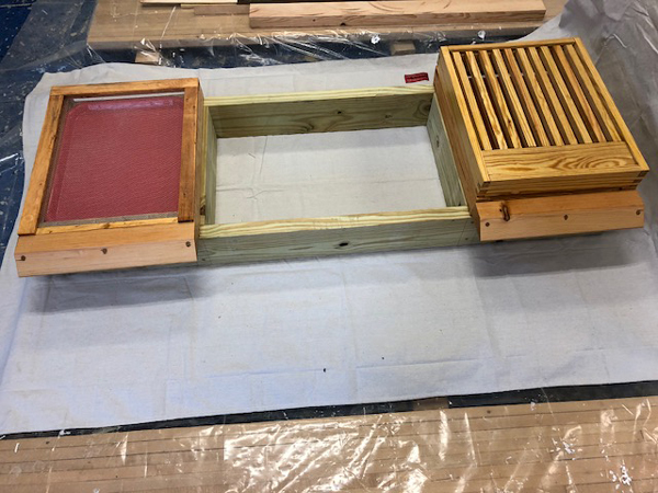 The have stand showing hive placement.