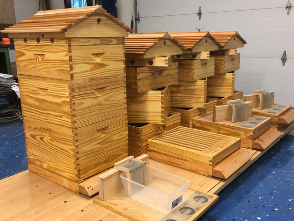 Winter's work is done: four complete hives ready for the bees.