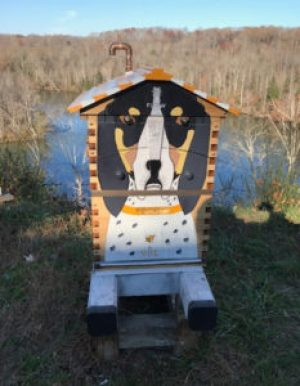 Better beekeepers: Many people think women are more artistic, but I disagree. This hive by Rick Cheverton honors the Tennessee Volunteers. The team mascot is a bluetick hound named Smokey.