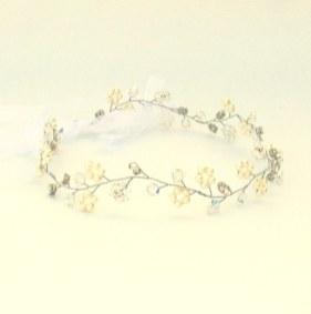 Crystal and pearl boho wedding hair vine - Eden