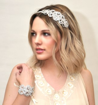 Crystal bridal bracelet and hair piece - Persephone