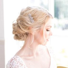 Floral crystal wedding hair comb - Aria