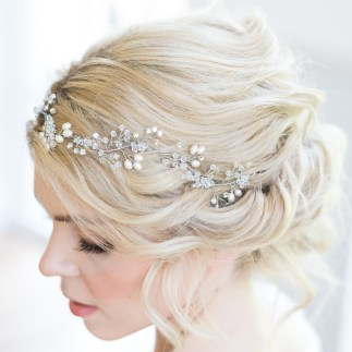 Crystal and pearl wedding hair vine - Fern