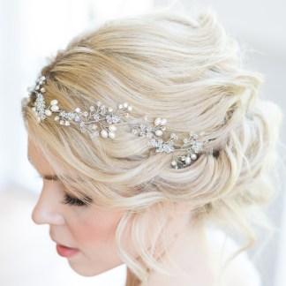 Crystal and pearl wedding hair vine - Fern