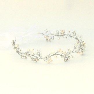 Crystal and pearl bridal hair vine - Fern