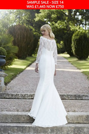 So Sassi Jemima lace bridal gown with sleeves sample sale