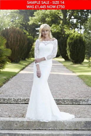 So Sassi Jemima lace wedding dress with sleeves sample sale