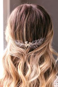 Handmade bridal haircomb with pearls - Hemera