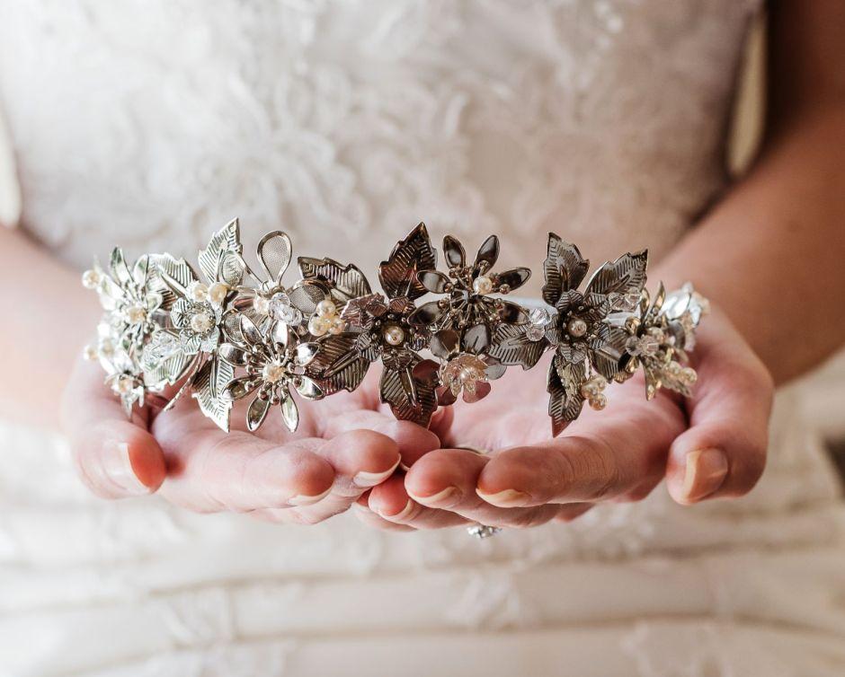 Silver-floral-pearl-and-Swarovski-crystal-bridal-hair-band