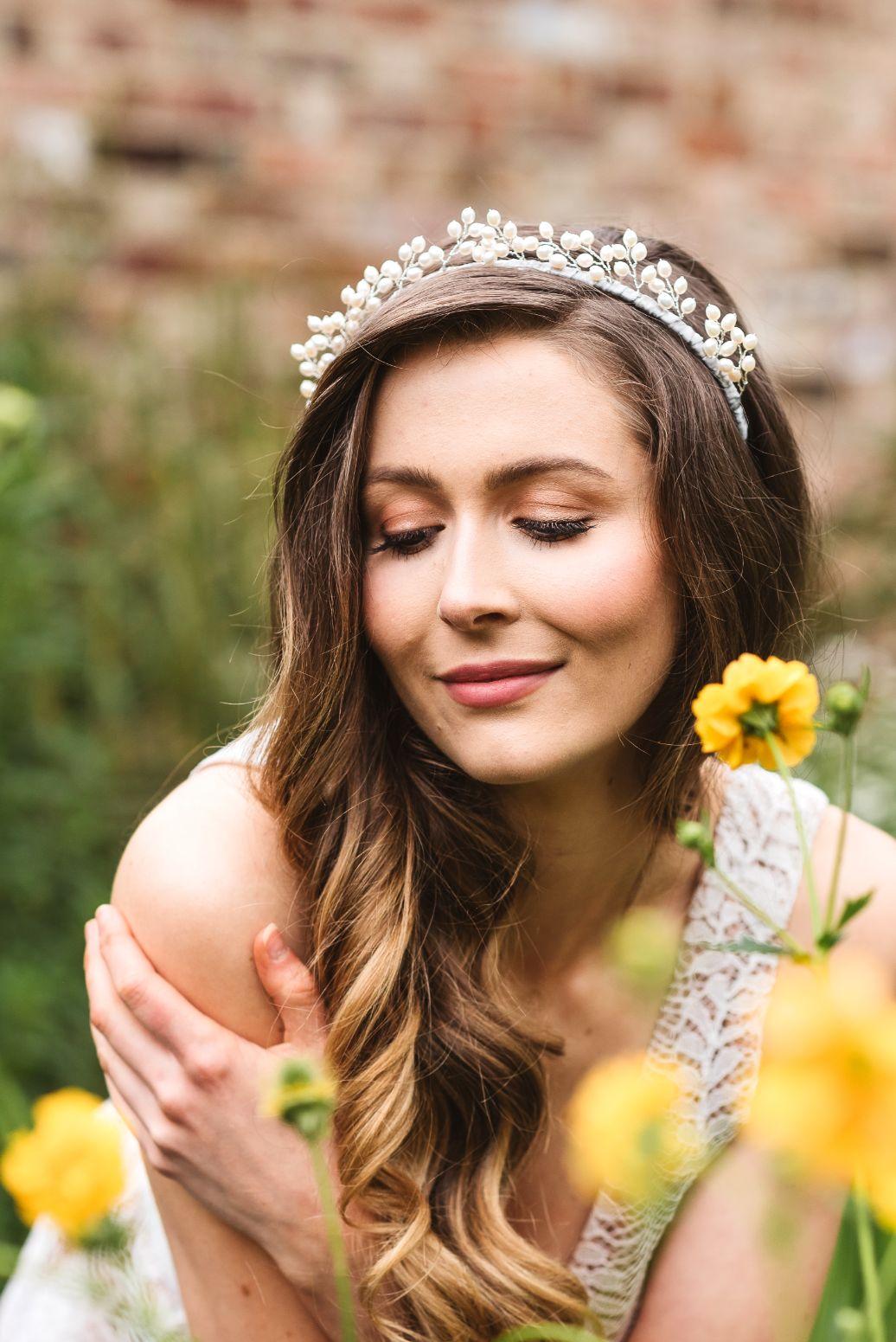 Rachel Chaprunne pearl halo bridal crown - Selene