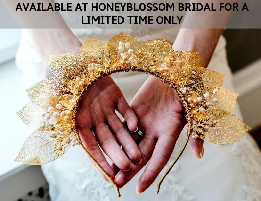 Rachel Chaprunne gold and pearl bridal crown - Adira
