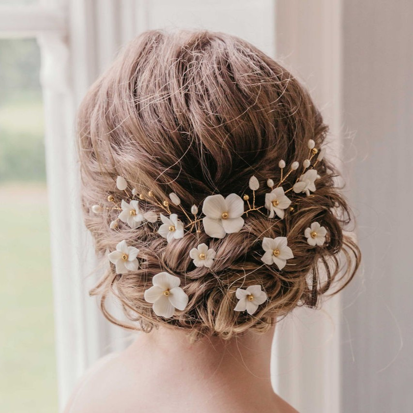 Rachel Chaprunne gold and white floral hair vine and pins - Flora and Elodie