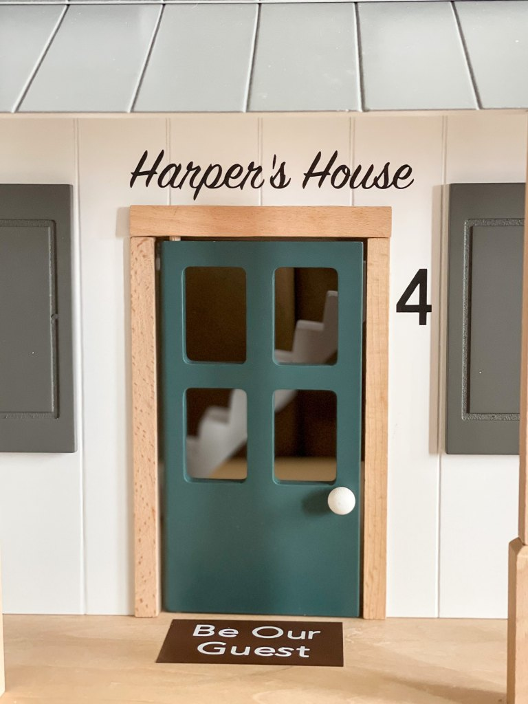 Cricut cut door mat and house numbers. Doll house makeover