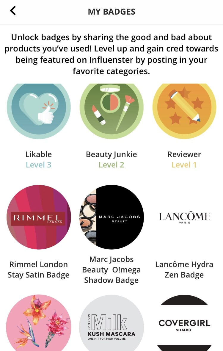 influenster app badges