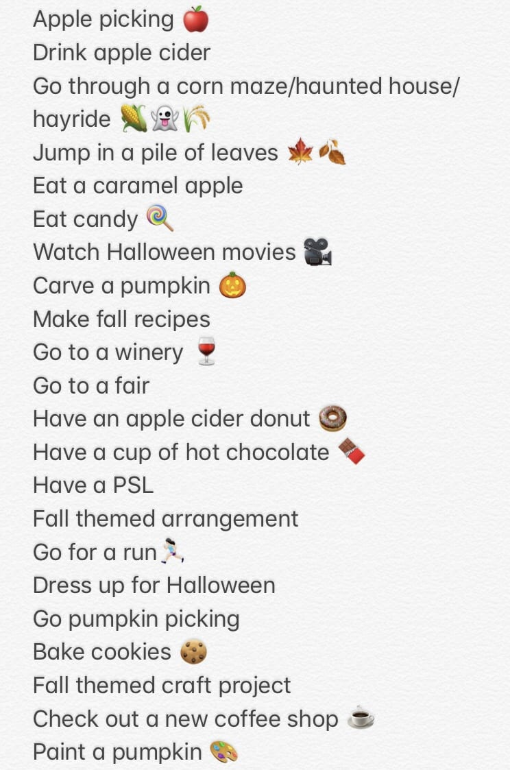 fall to-do list emojis