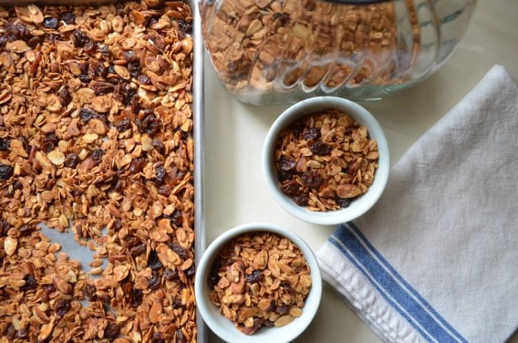 Homemade raisin almond granola
