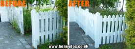 PICKET FENCE & GATE REPAIRED & PAINTED